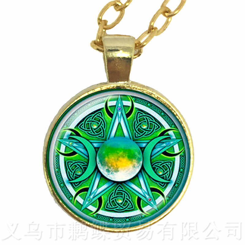 Green Background Triple Moon Goddess Wicca Pentagram Magic Amulet Talisman Men Moon Necklace Tibetan Vintage Jewelry