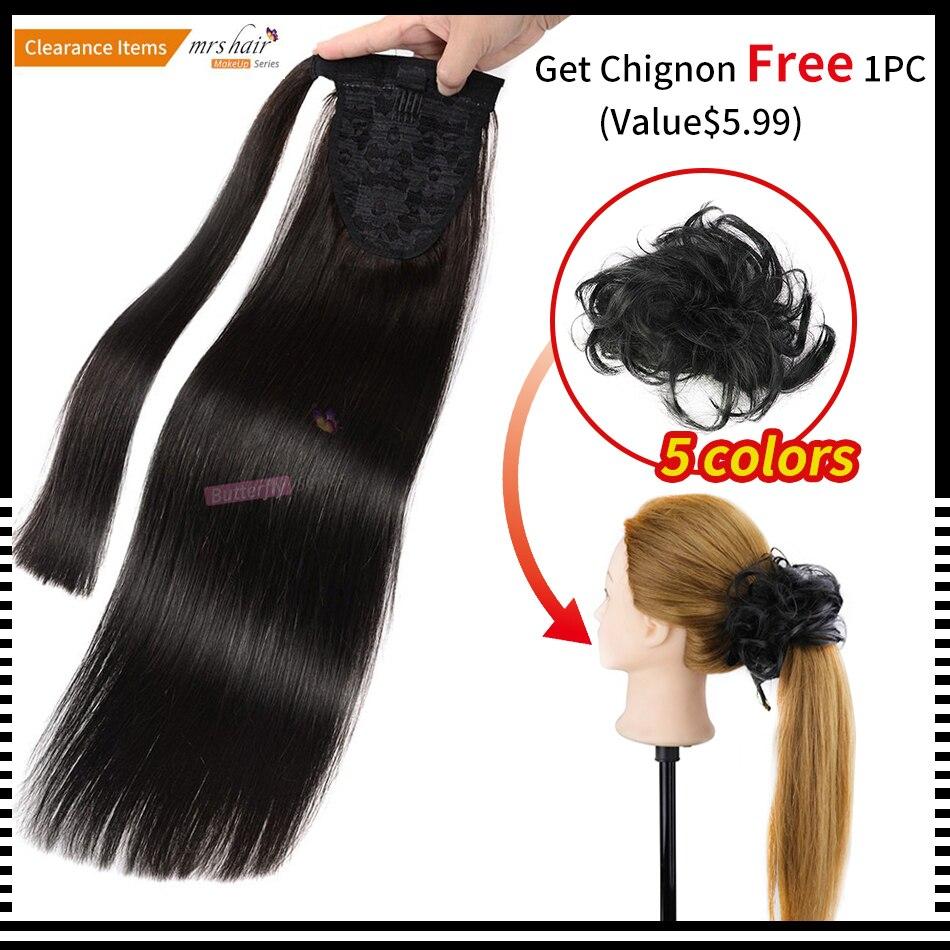 MME CHEVEUX Queue de Cheval de Cheveux Humains Clip En Noir/Blonde Machine Fait Remy Postiches Droite Clip Dans Les Cheveux Extensions 14 18 22