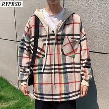 New 2019 Hooded Harajuku Plaid Sweatshirt Men Loose Long Sleeve Korean Fashion Streetwear Hip Hop Hoodie