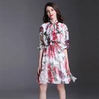 2018 High Quality Pretty Flowers Print Women Dress European New Half Sleeve Above Knee Mini Slim