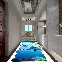 Free Shipping 3D underwater world dolphin ground stickers self adhesive bedroom living room bathroom office flooring mural