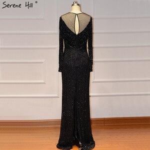 Image 5 - Schwarz Luxus Sexy Abendkleider 2020 Schlank Mermaid Quaste Perlen Langen Ärmeln Abendkleider Für Frau LA60716