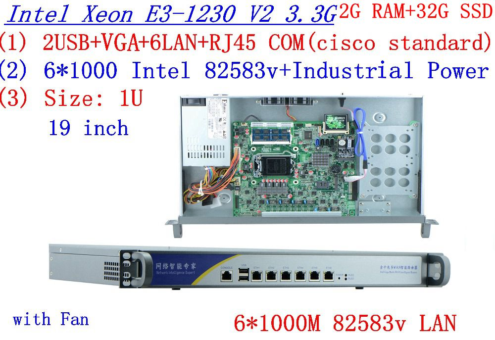 1U Firewall network router with 6 lan ports Inte Quad Core Xeon <font><b>E3</b></font>-<font><b>1230</b></font> <font><b>V2</b></font> 3.3Ghz no graphic 2G RAM 32G SSD RouterOS image