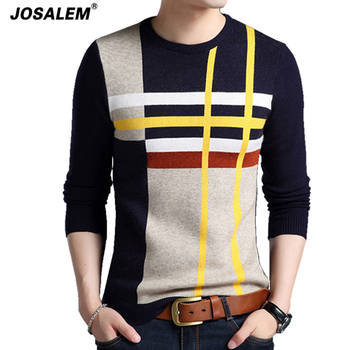 Men Striped Sweater Thick Warm Cashmere Knitwear