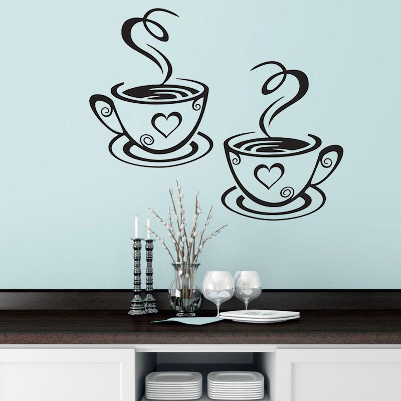 New Double Coffee Cups Wall Sticker PVC Vinyl Art Wall Decals Adhesive Stickers Kitchen Room Decor 8 9 DC156(China)