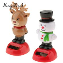 2pcs Solar Powered Snowman Elk Swing Bobbling Toys for Car Dashboard Decoration Xmas Gifts solar powered swing dancing flower bee toy home car ornament decoration gifts