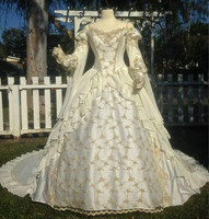 Vintage Ivory Medieval Arabic Wedding Dresses Princess Ball Gown Gothic Wedding Dress With Lace Off The Shoulder Bridal Gowns