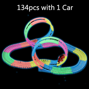 Image 2 - Brilha no escuro trilho diy, faixas mágicas 360, montagem flexível, pista luminosa, carro de corrida com luz led veículos para cima