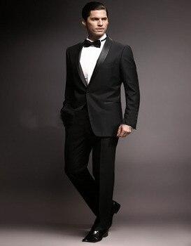 2017 New Style Groom Tuxedos Black Lapel Best Man Groomsman Men Wedding Prom Suits Bridegroom (Jacket+Pants+Bow Tie)