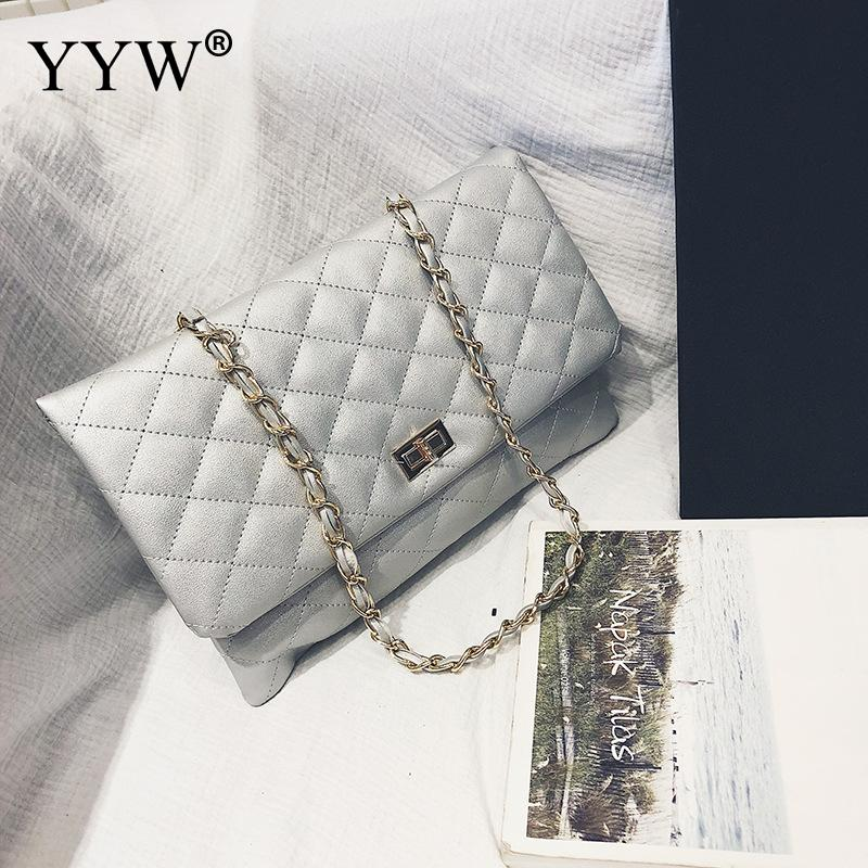 2019 New Fashion Clutch Women Black White Chain Shoulder Bag Softbag Evening Bag Ladies Hand Bag Leather Yellow Silver Handbag