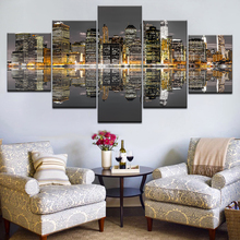 5 Piece Hot Sell Modern Wall Painting City Building Home Decor Flowers Art Picture Paint On Canvas Prints Living Room Artwork