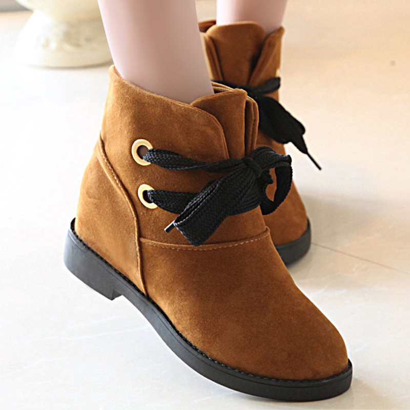 XIU XIAN Women Winter Snow Boots Warm Plush Original Design 2017 Fashion Ankle Boots Flock Lace Up Soft High Quality PU leather