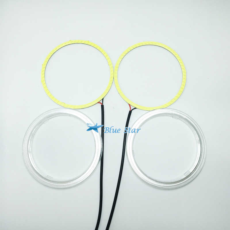 1pair(2pcs) Auto Halo Rings COB 60MM COB Angel Eye Car Headlight Motorcycle Led 12V white blue red yellow+Lampshades