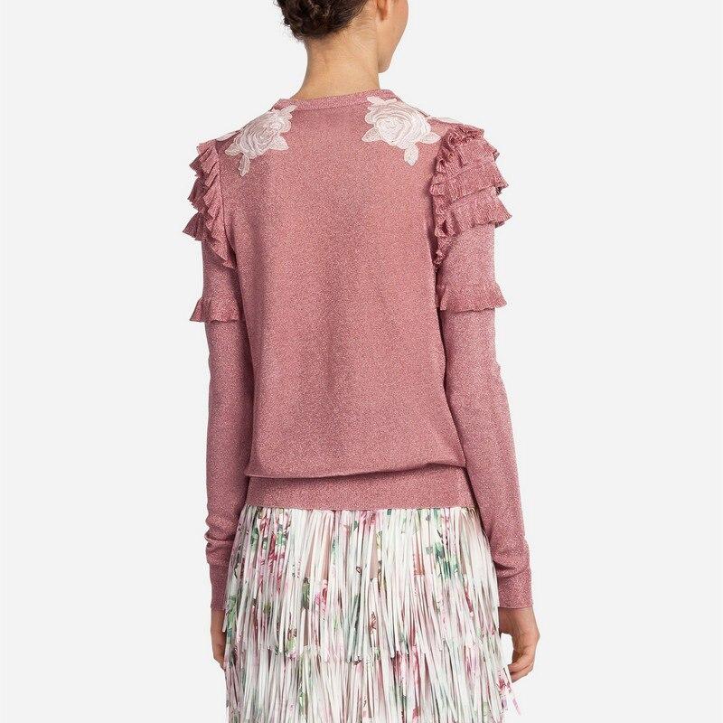 2019 hiver noël Animal broderie rose chandails tricotés pulls femmes conception de piste à volants vêtements élégants dame vêtements - 4