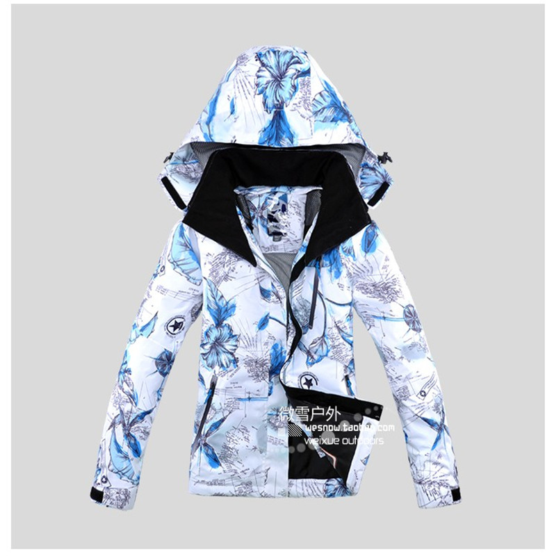 2019 Female Ski Jacket Winter Thick Thermal Snowbaord Jacket Waterproof Windproof Coat Breathable Jacket Print Lady Ski Jacket