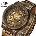 Мужские автоматические механические часы SHENHUA  полностью стальные часы с золотым скелетом