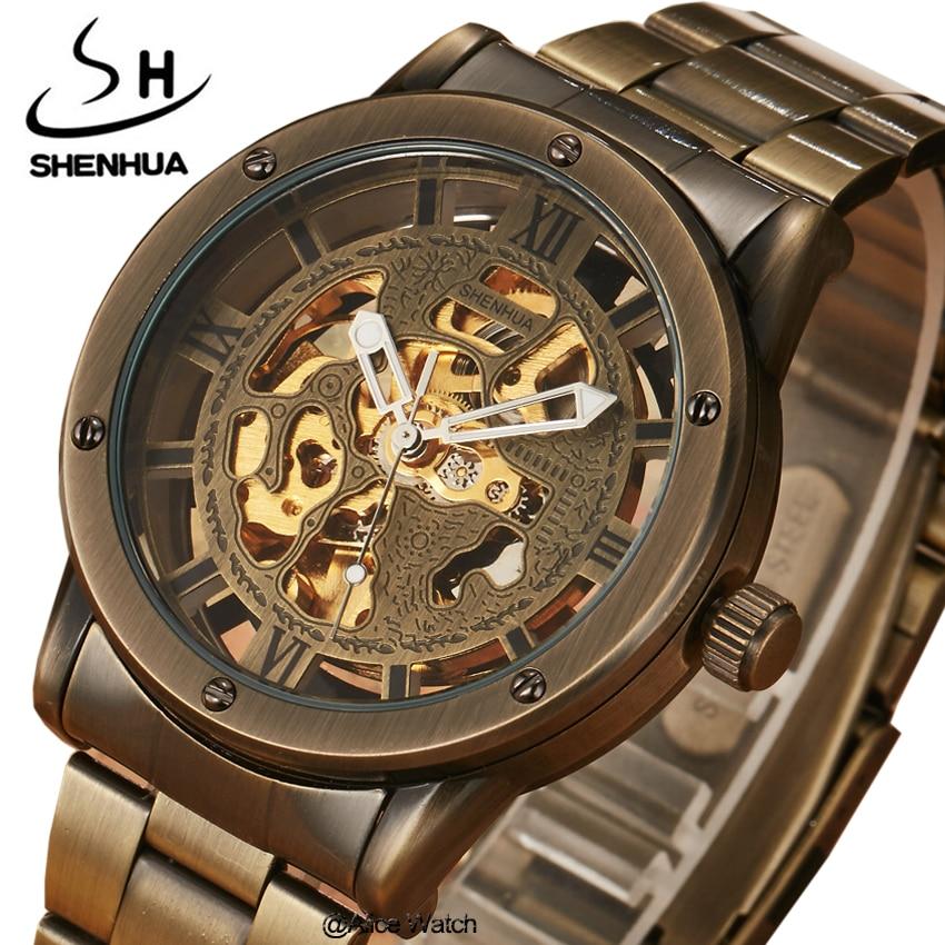 ყველაზე ბრენდის SHENHUA ფოლადის მამაკაცის ავტომატური მექანიკური საათები მამაკაცის ძვირადღირებული ოქროს ჩონჩხი მექანიკური საათები Reloj Relogio Masculino