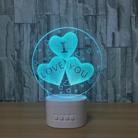 LED 3 hearts I love You 3D Night Lights Bluetooth Speaker Music Lamp 5 colors Change lights Light Creative Lover's Gifts