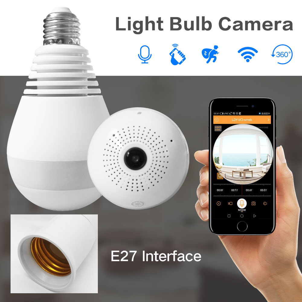 1.3MP Wireless IP Camera 360 Fisheye Panoramic Video Surveillance Security Camera Wifi Night vision Bulb Lamp CCTV Camera P2P wifi ip bulb camera 360 fisheye panoramic bulb camera 1 3mp 960p cctv video surveillance wifi security camera