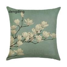 pillow cases Plant lavender linen/cotton flower design case Home decorative cover seat