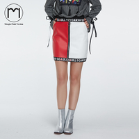 Margin High Waist Glossy Short Pu Leather Mini Skirt Party Jupe Sexy Zipper Ring Punk White