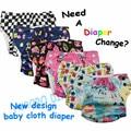 Envío gratis diseño Único del bebé pañal de tela reutilizable con cierres laterales de apertura, PUL lavable del pañal de bolsillo con botones de color
