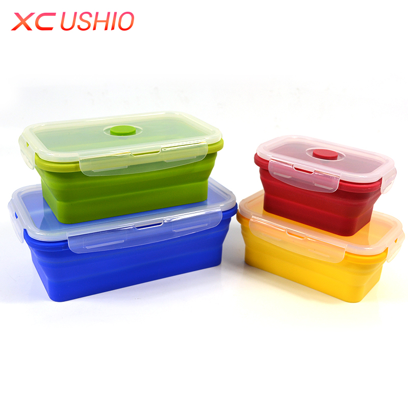 4 teile/satz Silikon Lunchbox Klapp Lebensmittel Silikon Container Tragbare Faltbare Lebensmittel Picknick Obst Aufbewahrungsbox