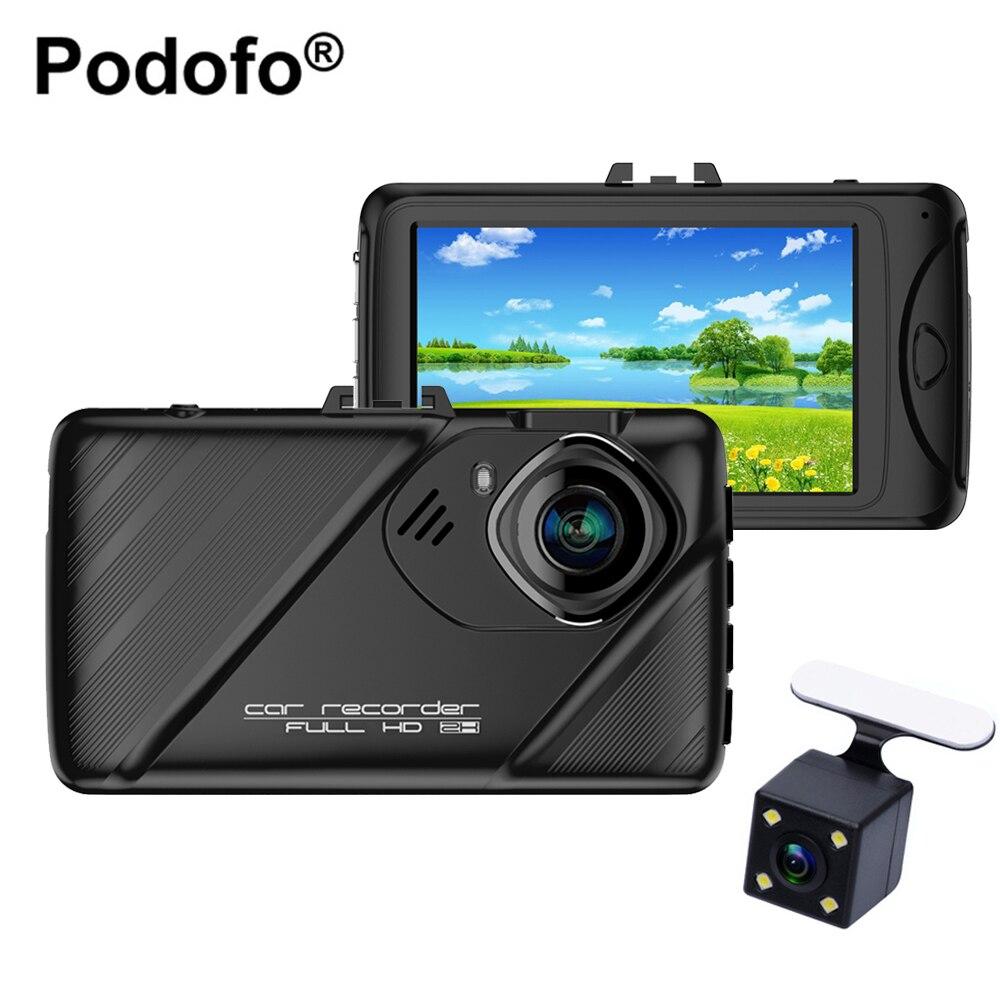 D'origine Podofo Double Objectif Dash Caméra 3 pouce Dashcam Novatek 96658 Enregistreur Vidéo HDR G-capteur Nuit Vision Registrator voiture Dvr