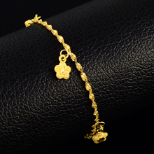 cute romantic female bracelets 24k gold filled fine jewelry flower charm bracelet for women fashion