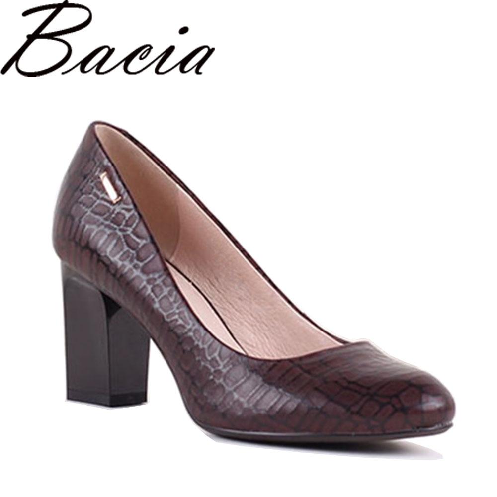 цена на Bacia Irregular Stone Pattern Sheepskin Woman High Heels 7.5cm Pumps Red Black High Heels Leather Pumps Shoes Size 35-41 SB025