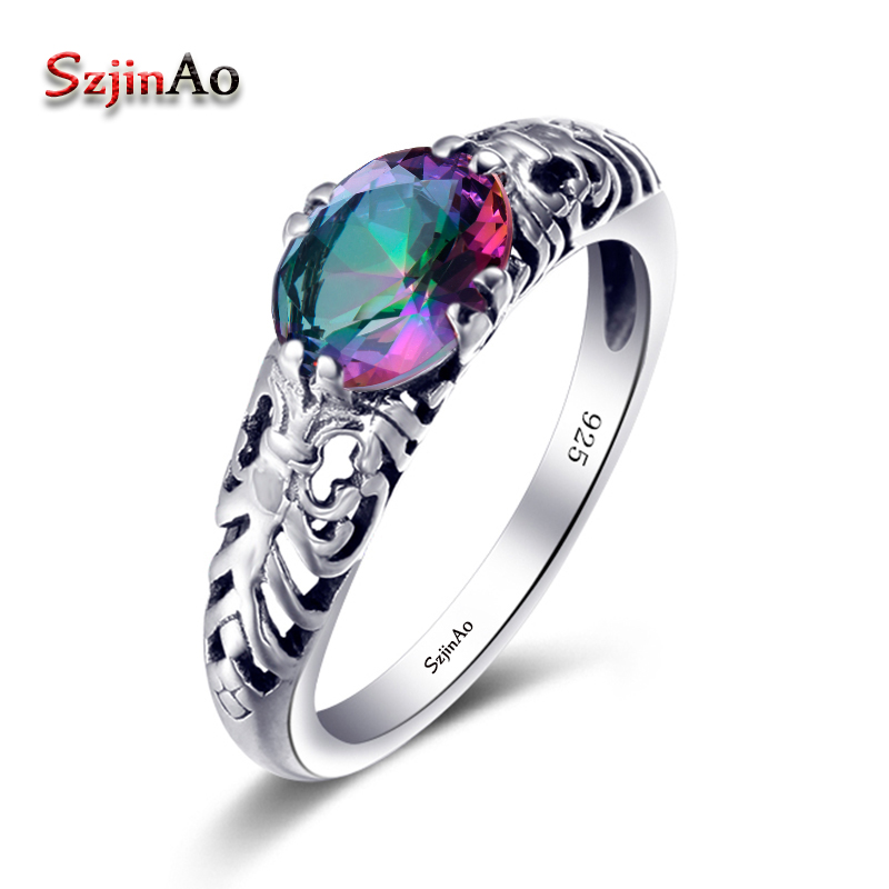 Szjinao Vintage Women Promise Bridal Ring Austrian Crystal Mystic Rainbow Topaz Engagement Wedding 925 Sterling Silver JewelrySzjinao Vintage Women Promise Bridal Ring Austrian Crystal Mystic Rainbow Topaz Engagement Wedding 925 Sterling Silver Jewelry