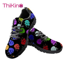 Thikin Women Candy Skull Pattern Shoes for Work Woman Fishbone Comfortable  Mesh Sneakers Girls Black Flat Shoes Zapatillas characteristic fishbone pattern body chain for women