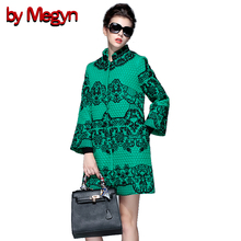 by Megyn 2017 Autumn Winter O-Neck Full Sleeve Embroidered Winter Coat Muslim Style Women Overcoat Jacket Plus Size XXXL D060