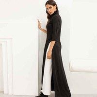 Women Lady Dress Knitting Elastic Seven Quarter Sleeve High Collar Fashion For Party KA BEST