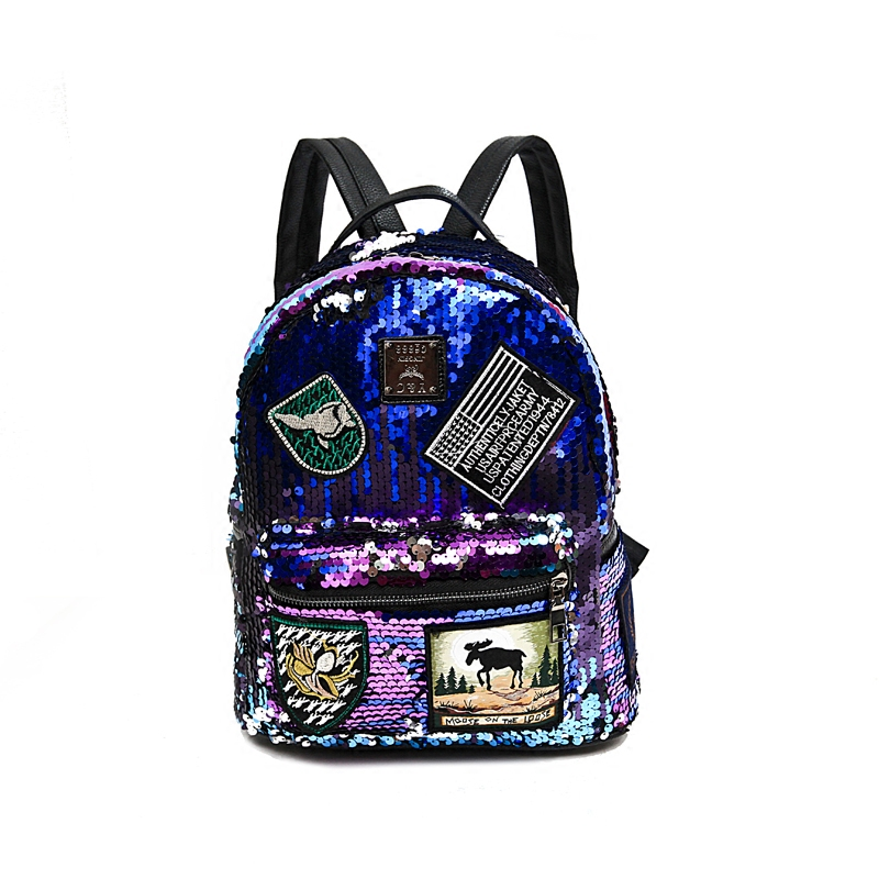 Sequin Backpack Korean version 2018 New Personality Badge Fashion Backpack Wild Casual 1