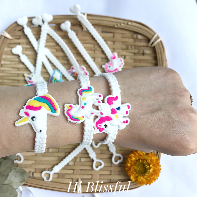 6pcs Cute Colourful Unicorn Party Rubber Bangle Bracelet Birthday Decoration Adult Baby Shower Decor Favors Supplies