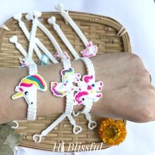 6pcs Cute Colourful Unicorn Party Rubber Bangle Bracelet Birthday Decoration Adult Baby Shower Decor Favors Supplies