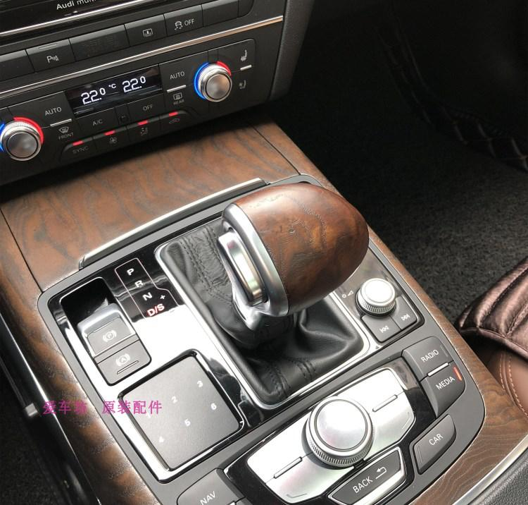 For Audi Q5 A5 A4L OEM Black Genuine Leather Gear Shift Knob Handball Shift Lever Peach wood Handball stylish peach wood leather car shift stick knob