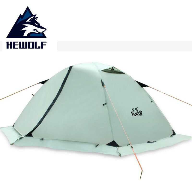 HEWOLF Outdoor Camping Tent 2 People 1 Person Waterproof Hiking 4 Seasons Double Layer Beach for Fishing Tourism Tents Winter