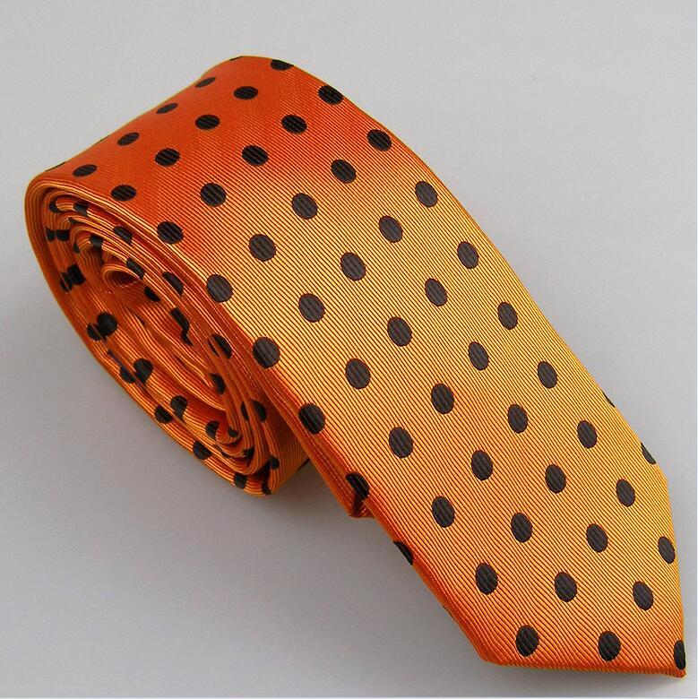 Lammulin Для Мужчин's Галстуки для костюма в точка жаккарда тканый шейный платок из микрофибры узкий галстук 6 см свадебные туфли, 10 цветов на выбор, брендовый мужской - Цвет: Orange w black