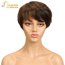 Joedir Brazilian Virgin Hair Straight Wig 100% Short Human Hair Wigs For Black Women Ombre Red Burgundy Blonde Color Wigs(China)