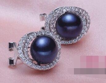 Wb002 charme une paire 10-11mm AAA noir bleu perle stud boucles d'oreilles