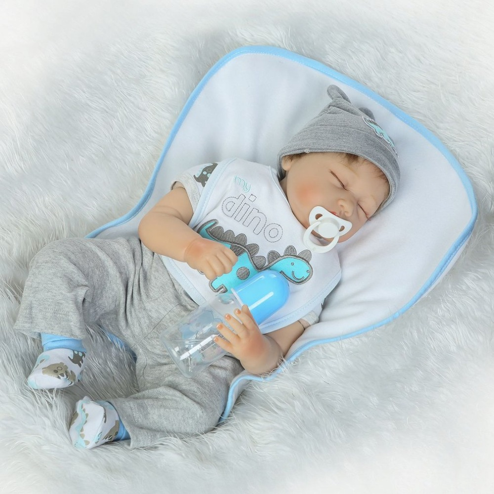 22 Inch Baby Reborn Doll Close Eyes Full Body Soft Silicone Vinyl Baby Doll Handmade Ado ...