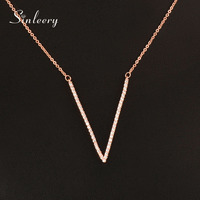 SINLEERY Fashion Tiny Crystal V Letter Pendant Necklace White Rose Gold Color Short Chain Women Jewelry