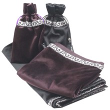 64x64cm Altar Tarot Tablecloth With Bags blanket carpet Flocking Fabric cards Board Game ceremony Cloth purpleredblue
