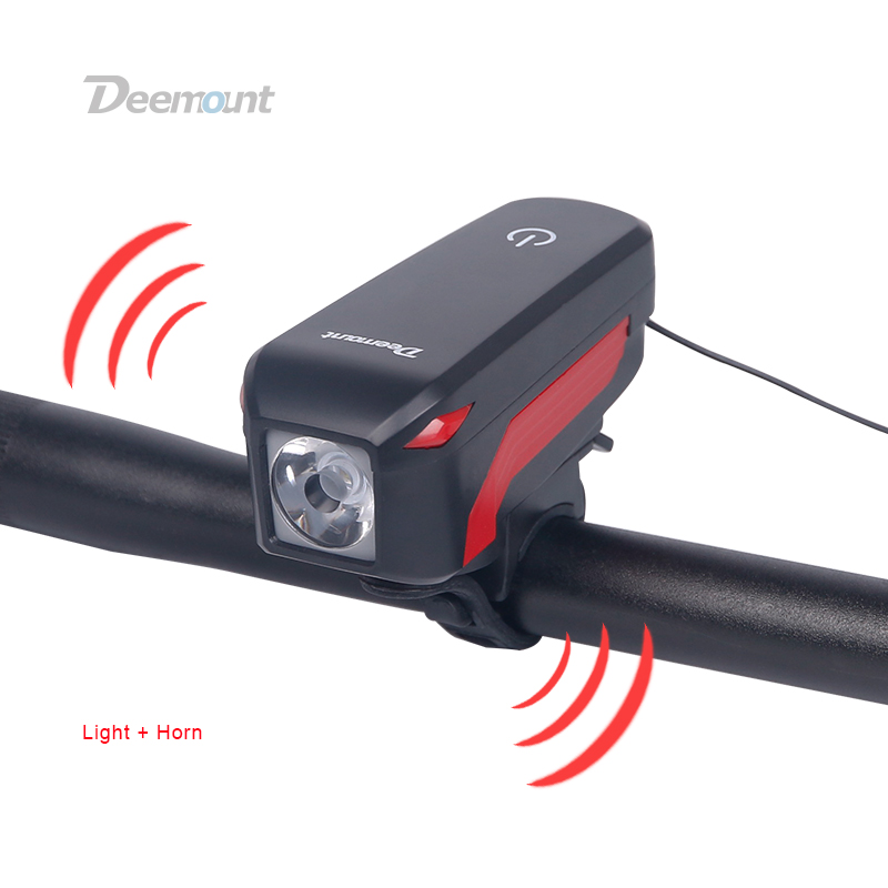 Deemount Bicycle Headlight + <font><b>Horn</b></font> USB Charge Bike Front LED Lamp Lantern Electronic Bell Siren Alert Trumpet Audio Visual Warnin