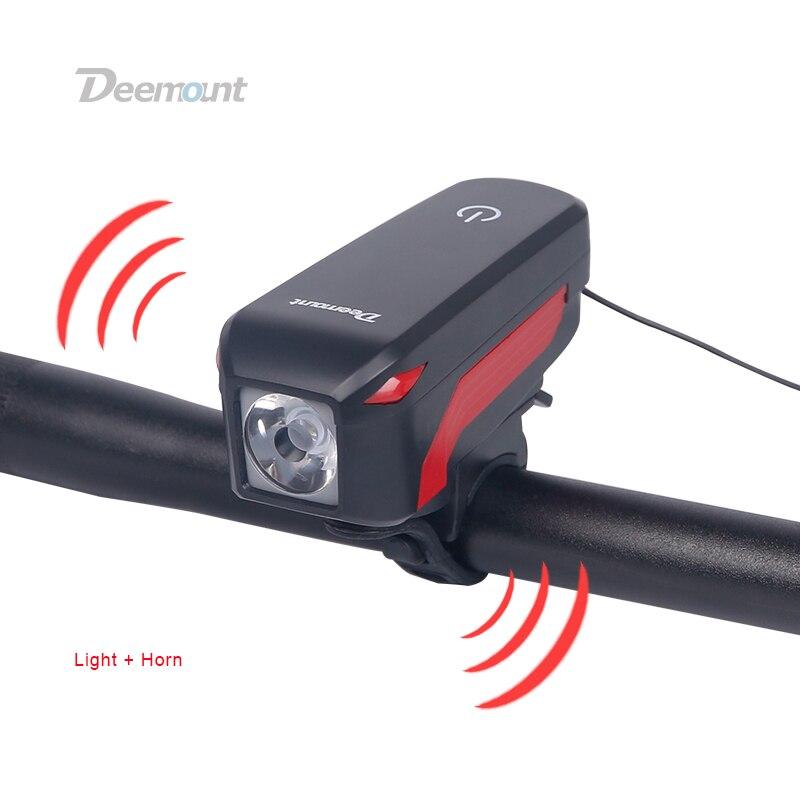 Deemount Vélo Phare + Corne USB Charge Vélo Avant LED Lampe Lanterne Électronique Cloche Sirène D'alerte Trompette Audio Visuel Warnin dans Vélo lumière de Sports et loisirs