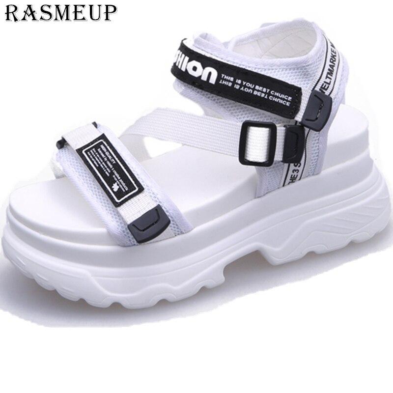 Rasmeup 8 Cm Frauen Plattform Sandalen 2019 Mode Sommer Frauen Strand Chunky Sandale Casual Komfort Dicken Sohlen Frau Schuhe Schwarz Frauen Schuhe