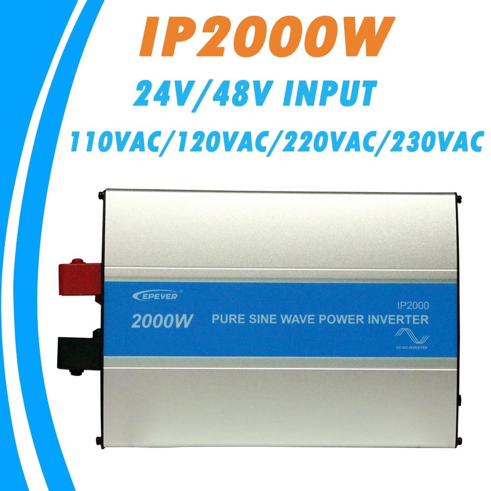 EPever 2000W Чистая синусоида Инвертор 24V/48V вход 110VAC 120VAC 220VAC 230VAC выход 50HZ 60HZ высокоэффективный преобразователь IPower