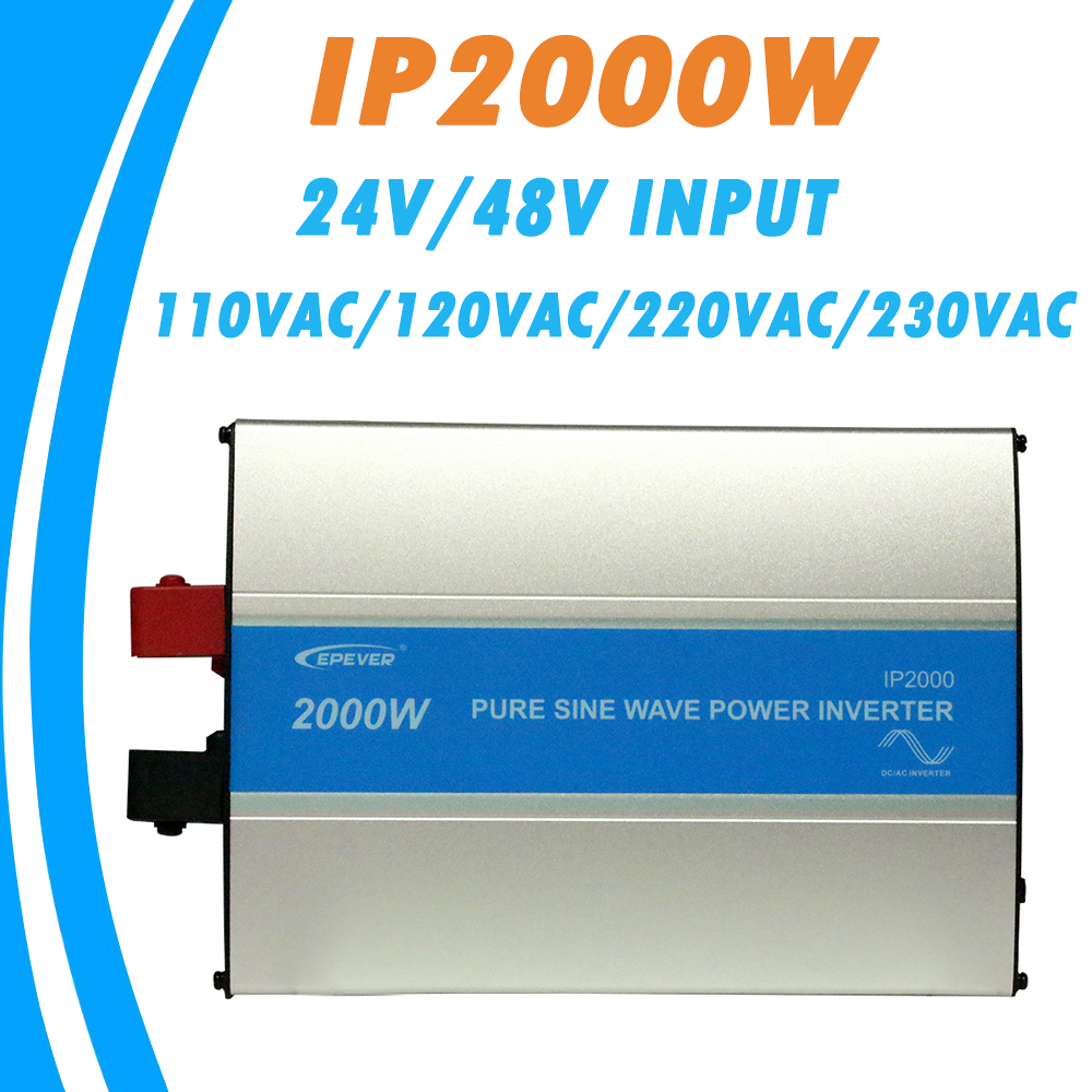 EPever 2000W Pure Sine Wave Inverter 24V/48V Input 110VAC 120VAC 220VAC 230VAC Output 50HZ 60HZ High Efficiency Converter IPower